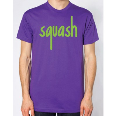 Indie looks squash purple and bright green flock logo t for Bright purple t shirt