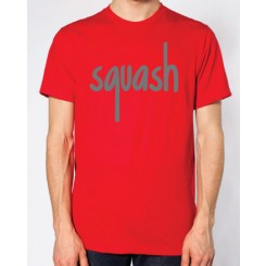 Squash Red and Light Grey Flock Logo T-Shirt