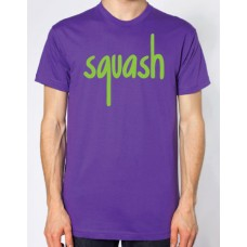 Squash Purple and Bright Green Flock Logo T-Shirt